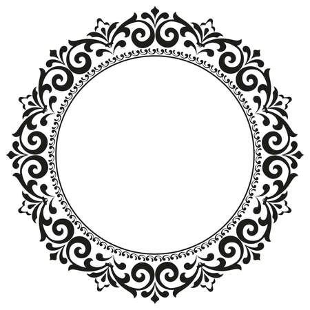 Photo for Decorative frame. Elegant element for design in Eastern style, place for text. Floral black border. Lace illustration for invitations and greeting cards - Royalty Free Image