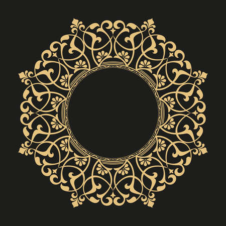 Photo for Decorative frame. Elegant element for design in Eastern style, place for text. Floral golden border. Lace illustration for invitations and greeting cards. - Royalty Free Image