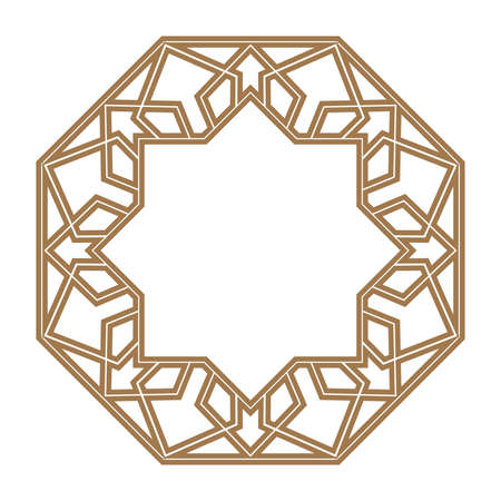 Photo for Decorative frame. Elegant element for design in Eastern style, place for text. Golden border. Lace illustration for invitations and greeting cards - Royalty Free Image