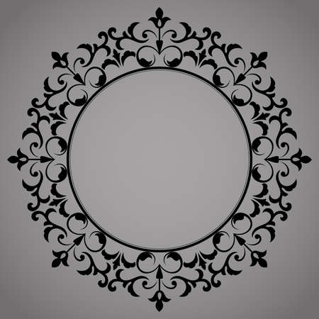 Photo for Decorative frame Elegant element for design in Eastern style, place for text. Floral black border. Lace illustration for invitations and greeting cards - Royalty Free Image