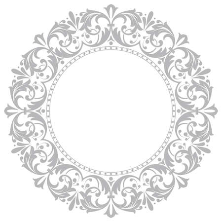Photo for Decorative frame Elegant element for design in Eastern style, place for text. Floral grey border. Lace illustration for invitations and greeting cards - Royalty Free Image