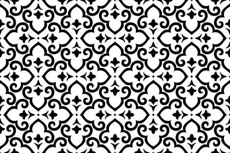 Photo for Flower geometric pattern. Seamless background. White and black ornament. Ornament for fabric, wallpaper, packaging. Decorative print - Royalty Free Image