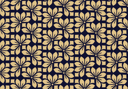 Photo for Flower geometric pattern. Seamless background. Dark blue and gold ornament. Ornament for fabric, wallpaper, packaging. Decorative print - Royalty Free Image