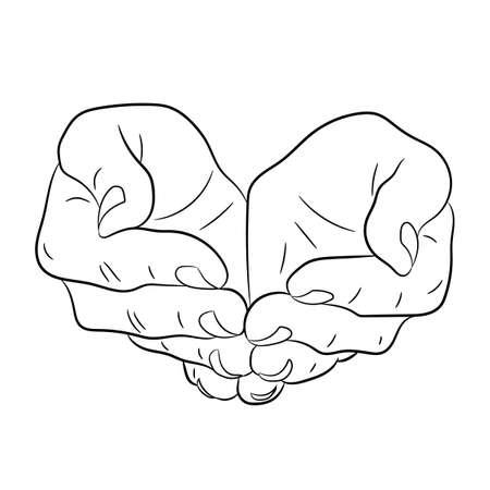 Ilustración de Two open empty hands. Asking gesture. Monochrome vector illustrations. - Imagen libre de derechos