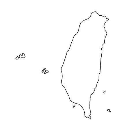 Illustration pour The Taiwan map of black contour curves of vector illustration - image libre de droit