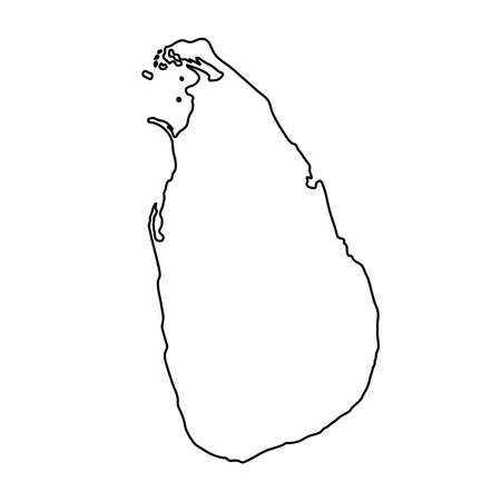 Illustration pour Sri Lanka map of black contour curves on white background of vector illustration - image libre de droit