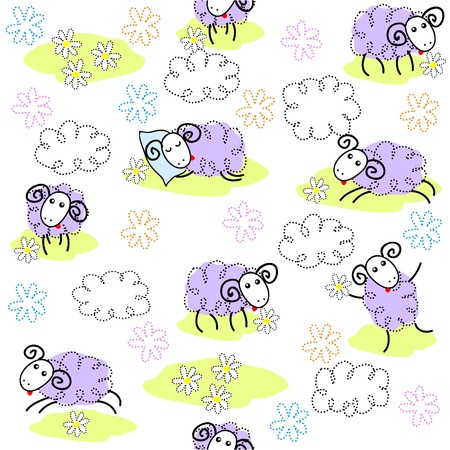 Seamless pattern with cute sheeps