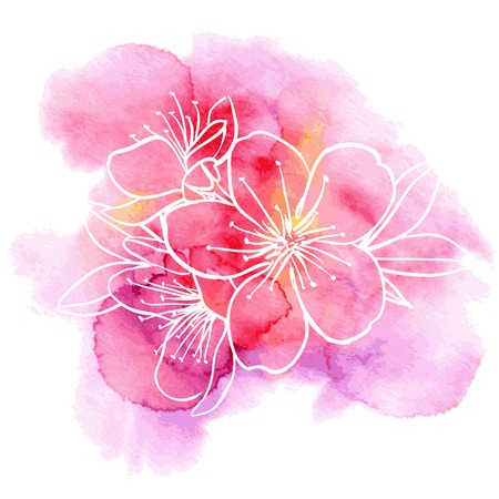 Ilustración de Decorative floral illustration of cherry flowers on a watercolor background - Imagen libre de derechos