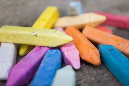 Photo for Random stack of multicolored sidewalk chalk - Royalty Free Image