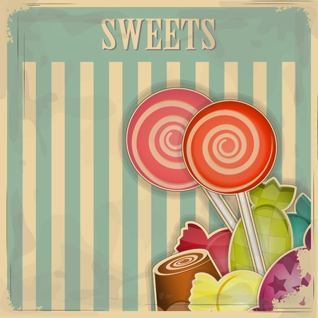 Foto per vintage postcard - sweet candy on striped background - vector illustration - Immagine Royalty Free