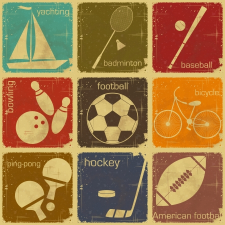 set of Vintage Sport separate  Labels - Retro Signs with Grunge Effect in colo