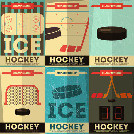 Ilustración de Hockey Posters Collection. Placards Set in Flat Design. Vector Illustration. - Imagen libre de derechos
