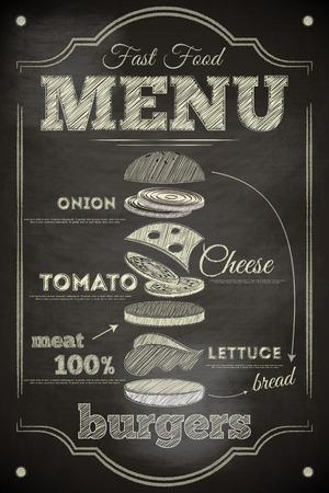 Illustration pour Burger Menu Poster on Chalkboard. Hamburger Ingredients. Vector Illustration. - image libre de droit