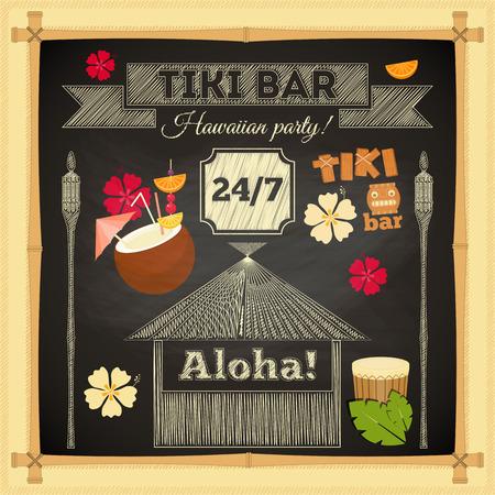 Ilustración de Tiki Bar. Summer Hawaii Card on Chalkboard with Bamboo Frame. Vector Illustration. - Imagen libre de derechos