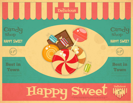 Illustration pour Candy Shop Retro Poster in Vintage Style with Sweets. Vector Illustration. - image libre de droit