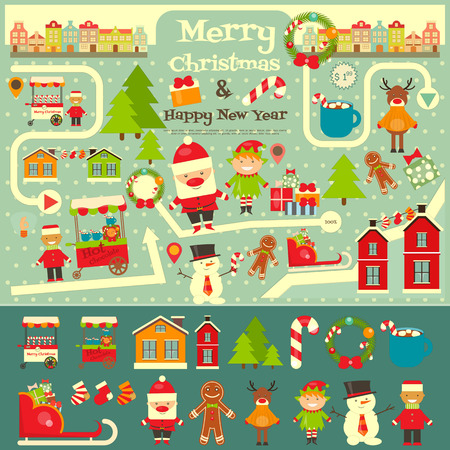 Christmas characters on City Map. Santa Claus on Infographic Card. Sellers and Trucks with Christmas Food. Vector Illustration.