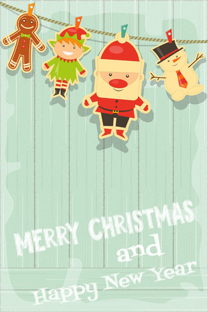 Christmas Characters on Rustic Wooden Background. Santa Claus, Snowman and Christmas Elf. Vertical Format. Vector Illustration.