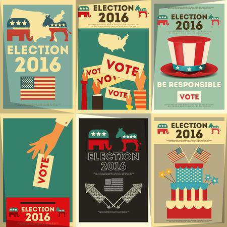 Illustration pour Presidential Election Voting Poster Set. Vector Illustration. - image libre de droit