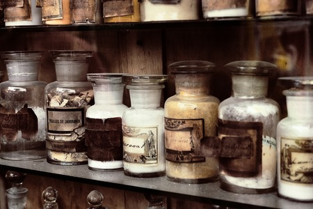 Photo for Cupboard with drugs in the old pharmacy - Royalty Free Image