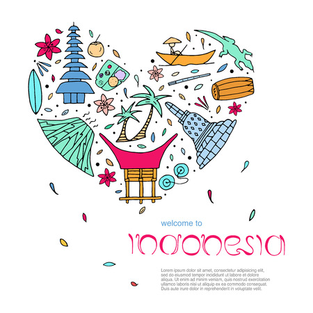 Illustration pour Culture of Indonesia design concept in the form of heart with text. Main attractions. Vector illustration. - image libre de droit