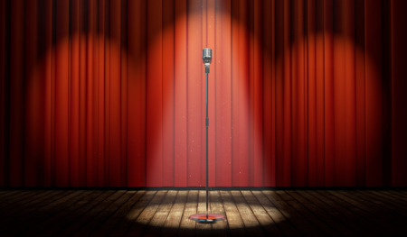 Photo for 3d stage with red curtain and vintage microphone in spot light, with magical particles   - Royalty Free Image