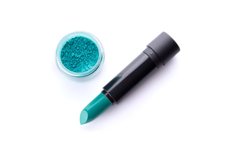 Photo pour Top view of a lipstick and eye shadow in jar in bright teal green color, isolated on white background - image libre de droit