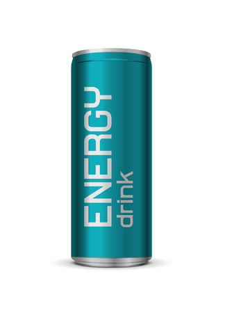 Ilustración de Vector bright energy drink can, isolated on white background - Imagen libre de derechos