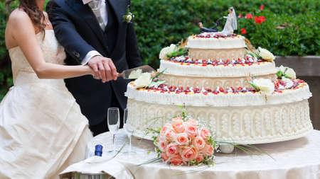 Photo pour spouses cut their wedding cake - image libre de droit