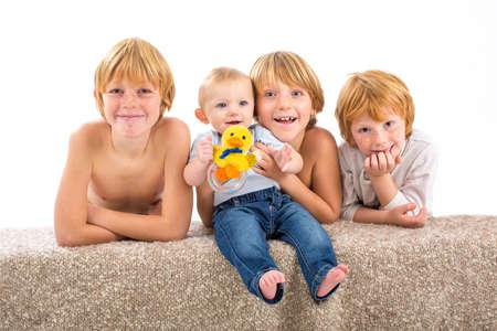happy children on isolated white