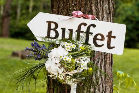 Photo pour sign wedding reception - image libre de droit