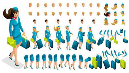 Illustration pour Isometry constructor stewardess, a large set of gestures of the legs, hands, hairstyles, emotions of the girl. Create your character in isometric, a set of accessories and suitcases set 3. - image libre de droit
