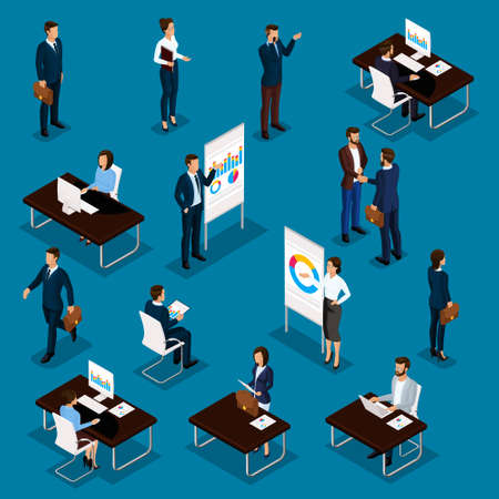 Illustrazione per Business people isometric set of men and women in the office business suits isolated on a blue background. Vector illustration. - Immagini Royalty Free