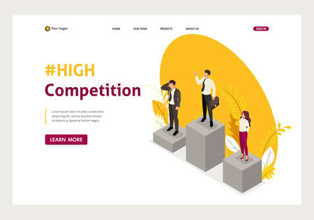 Ilustración de Isometric businessmen compete for the championship, leadership. Website Template Landing page - Imagen libre de derechos