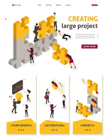 Ilustración de Isometric Website Template Landing page team work together to create a project, businessmen. - Imagen libre de derechos