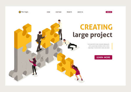 Ilustración de Isometric team work together to create a project, businessmen. Website Template Landing page. - Imagen libre de derechos