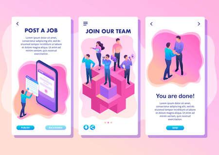 Illustration pour Isometric Template app bright concept join our team, we need professionals, smartphone apps. - image libre de droit