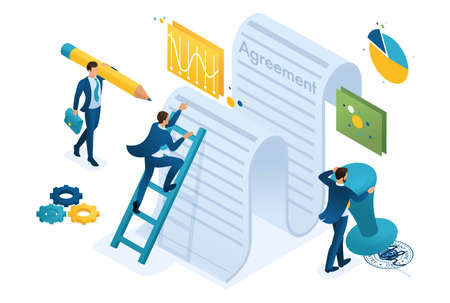 Illustrazione per Isometric study of the text of the agreement by employees of the company and signing of the contract. Concept for web design. - Immagini Royalty Free
