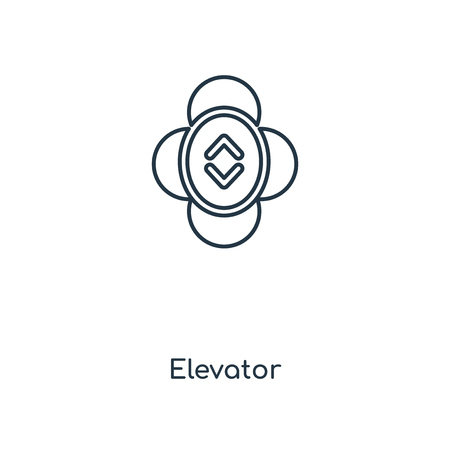 Illustration pour Elevator concept line icon. Linear Elevator concept outline symbol design. This simple element illustration can be used for web and mobile UI/UX. - image libre de droit