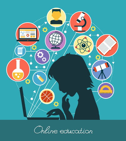 Ilustración de Icons education. Silhouette of a boy surrounded by icons of education. Concept online education. - Imagen libre de derechos