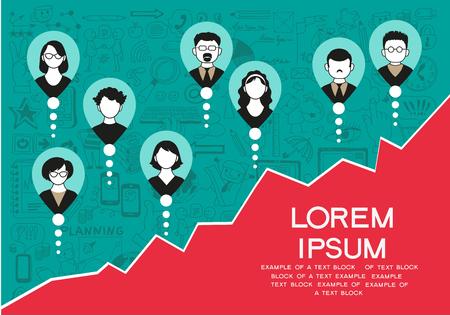 Illustration pour collection of success, office workers and business team.  - image libre de droit