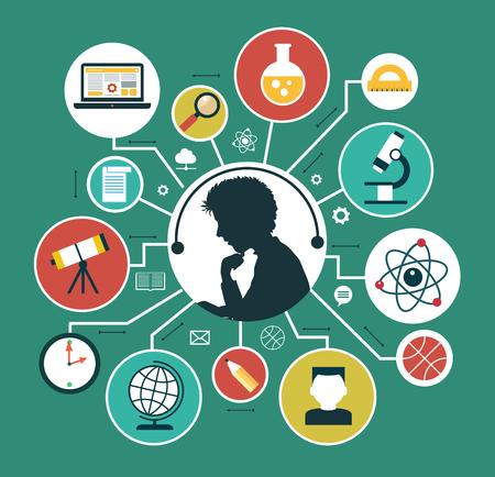Illustration pour Modern vector illustration concept. Iinfographics background education. Concept of online education. - image libre de droit