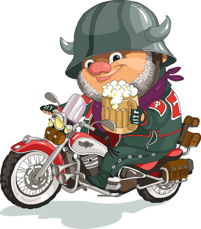 Illustration pour Funny cartoon. Vector illustration. Cool biker sitting on the motorcycle with a beer. Isolated objects. - image libre de droit