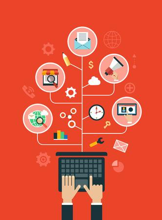 Ilustración de Digital marketing concept. Human hand with a megaphone surrounded by media icons. - Imagen libre de derechos