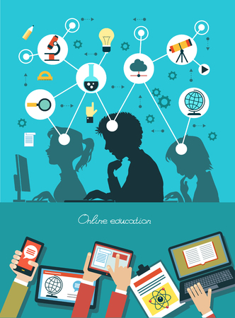 Illustration pour Icons education. Silhouette of students surrounded by icons of education. Concept online education. Human hand with a mobile phone, tablet, laptop and interface icons. - image libre de droit
