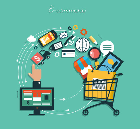 Ilustración de infographics background E-commerce. Business concept. Set icons - Imagen libre de derechos