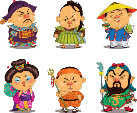 Illustration for Cartoon. Vector. Funny Chinese people in national costumes, travesty cartoon. Characters. Chinese set. Isolated objects. - Royalty Free Image