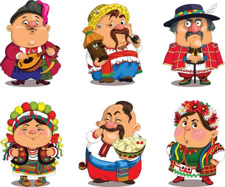 Illustration for Cartoon Ukrainians. Funny, travesty cartoon. Characters. Ukrainians set. Isolated objects. - Royalty Free Image