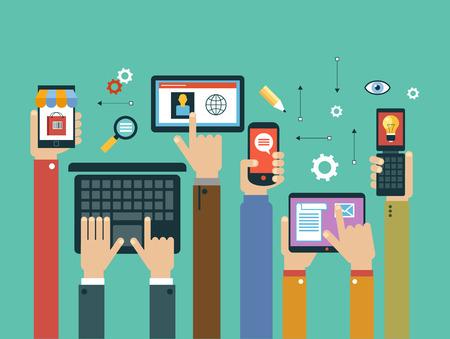 Illustration pour mobile apps concept. Mobile apps concept. Flat design vector illustration. Human hand with mobile phone, tablet, laptop and interface icons - image libre de droit
