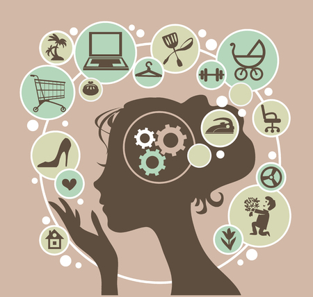 Illustration pour Head of a young modern woman and her thoughts. - image libre de droit