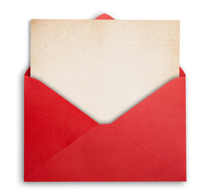 Foto de Rede envelope with okd paper, isolated, clippping path. - Imagen libre de derechos